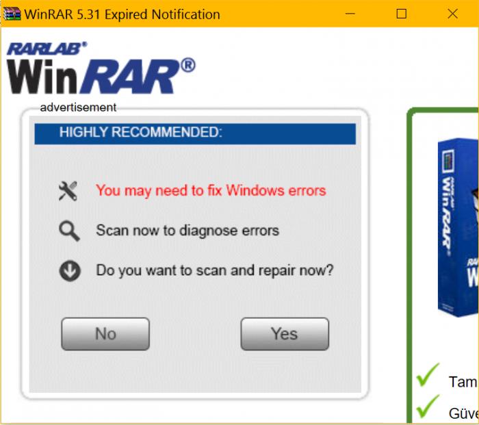 WinRAR Reklamı